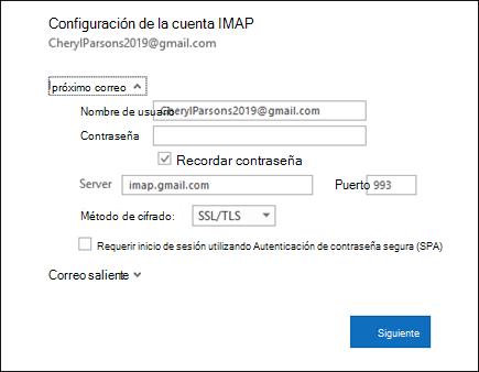 Seleccione configuración del servidor para cambiar el nombre de usuario, la contraseña y la configuración del servidor.