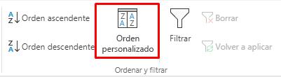 Botón de orden personalizado seleccionado
