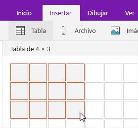 Comando Insertar tabla con la cuadrícula de selección