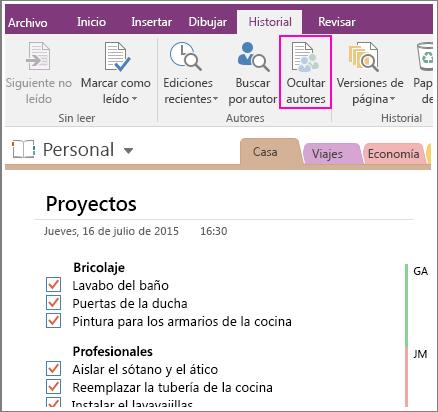 Captura de pantalla del botón Ocultar autores en OneNote 2016