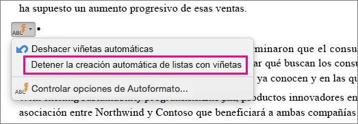La opción para detener la creación automática de listas con viñetas está resaltada.