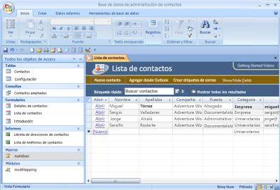 La base de datos de Administración de contactos