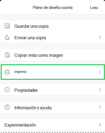 Las opciones de impresión en Visio Viewer para iOS.