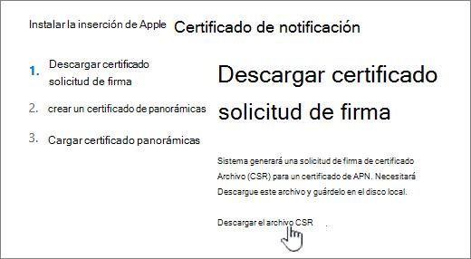 Cuadro de diálogo Instalar certificado APN