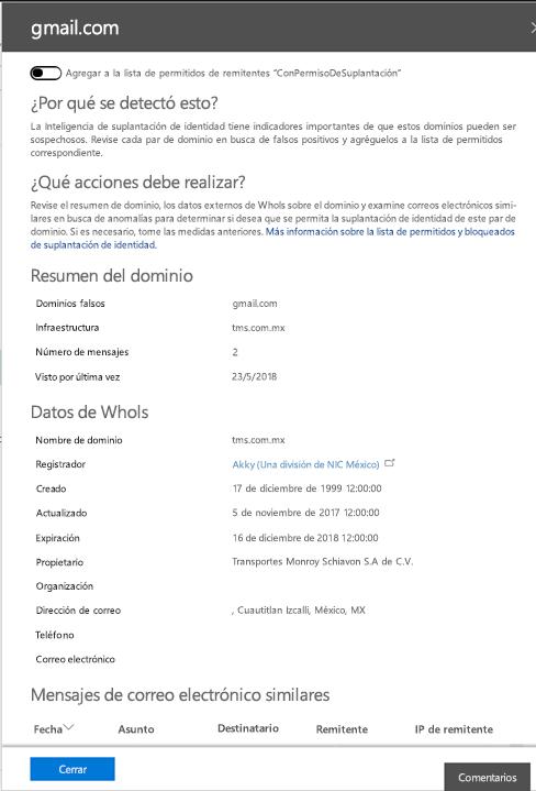 Captura de pantalla de un dominio en el panel de detalles de una perspectiva de inteligencia de suplantación