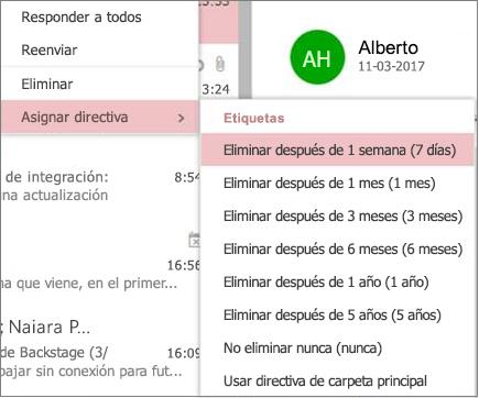 Captura de pantalla de las directivas de retención de ejemplo en grupos en Outlook en la web