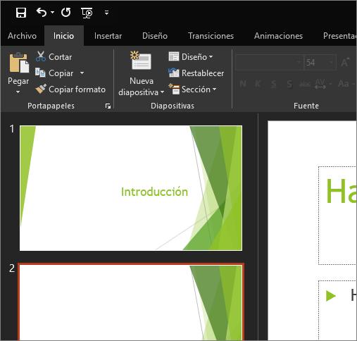 Muestra el tema Negro en PowerPoint 2016 para Windows