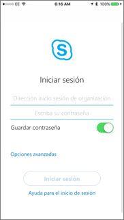 Pantalla de inicio de sesión de Skype Empresarial en iOS