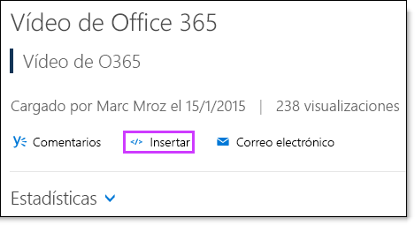Código para insertar vídeo de Office 365