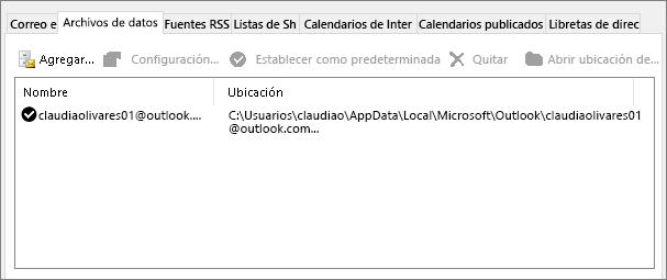 Ficha archivos de datos de configuración de la cuenta de Outlook que muestra la ubicación de outlook archivos de datos para un usuario con nombre