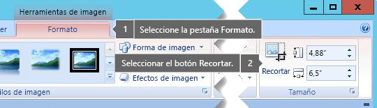 Botón Recortar en la ficha Formato de herramientas de imagen