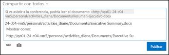 Dirección URL del documento pegada en una publicación de suministro de noticias