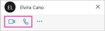 Una captura de pantalla de los botones de voz y vídeo en la ventana de chat