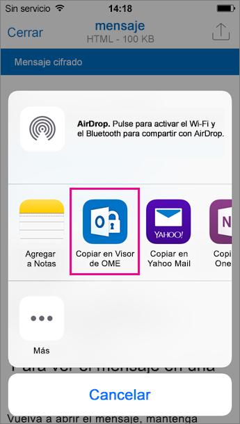Visor de OME para Outlook para iOS 3