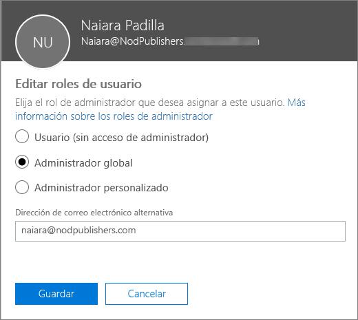 Panel Editar roles de usuario en donde puede cambiar los roles de usuario y la dirección de correo electrónico alternativa.
