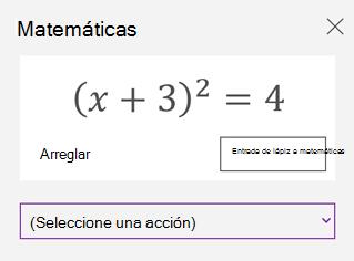 Una ecuación matemática en el panel de tareas de matemáticas