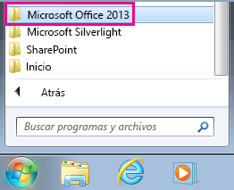 Grupo Office 2013 en Todos los programas de Windows 7
