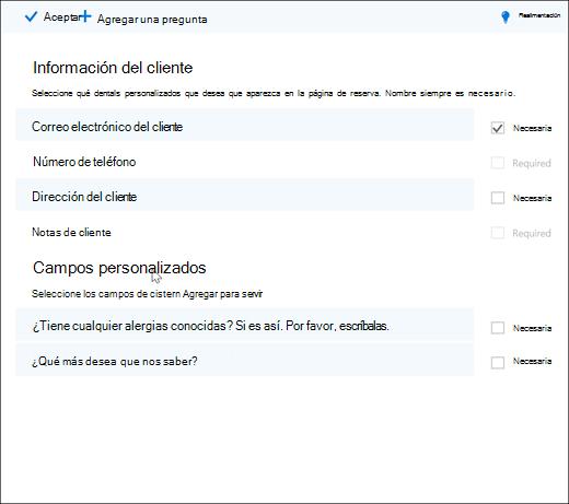 Captura de pantalla: que muestra el administrador crear preguntas personalizados.