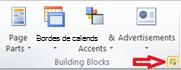 Grupo de bloques de creación que muestran el botón Muestra la biblioteca de bloques de creación en Publisher 2010