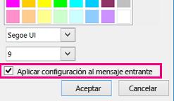 Captura de pantalla de la sección de la ventana Cambiar fuente con la casilla Aplicar la configuración a los mensajes entrantes activada