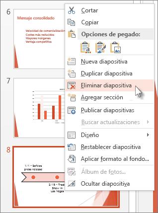 Haga clic con el botón derecho en una miniatura de diapositiva en PowerPoint y, a continuación, haga clic en Eliminar diapositiva.