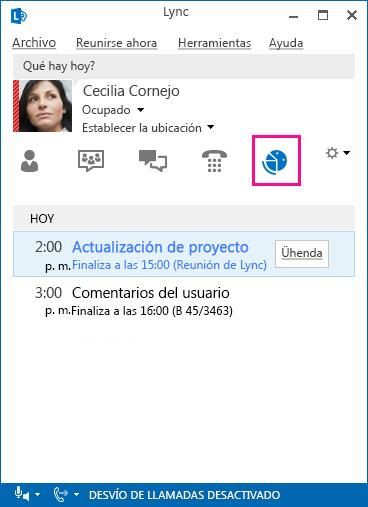 Captura de pantalla del entorno de reunión de Lync