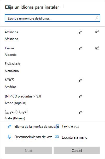 Menú de instalación de idiomas