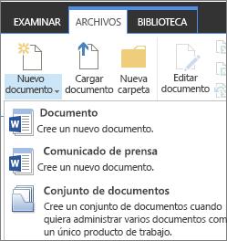 Botón nuevo documento con la lista desplegable en la cinta