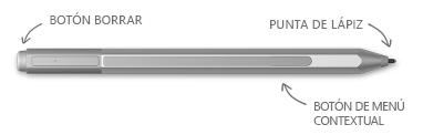 Lápiz para Surface, con globos para el borrador, las sugerencias y el botón de clic derecho