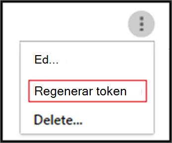 Volver a crear un token haciendo clic en los puntos suspensivos para el agente SIEM
