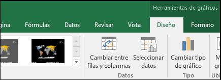 Herramientas de la cinta del gráfico de mapa de Excel