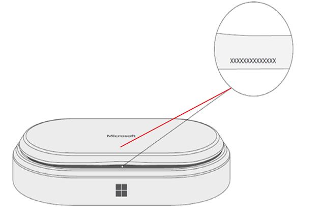 Altavoz USB-C moderno de Microsoft con número de serie