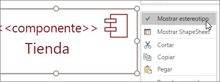 Haga clic en el menú, comando Mostrar estereotipo, etiqueta de texto << componente >>