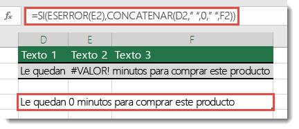 Las funciones SI y ESERROR usadas como solución alternativa para concatenar una cadena con el error #¡VALOR!