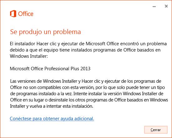 Error al intentar instalar Hacer clic y ejecutar mediante la instalación de MSI