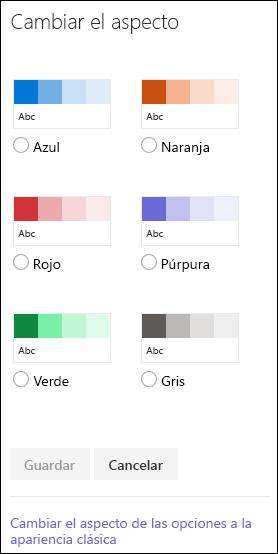 Captura de pantalla que muestra las opciones de color de SharePoint para cambiar la apariencia del sitio.