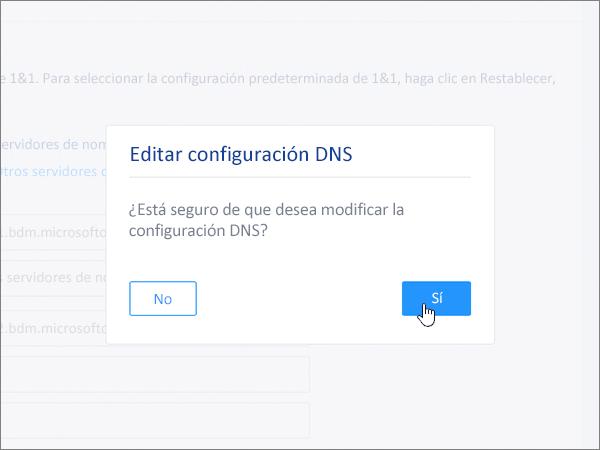 Haga clic en Guardar en el cuadro de diálogo Editar configuración DNS