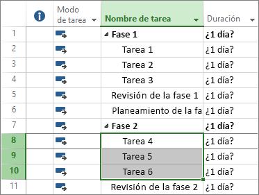 Captura de pantalla de las tareas descritas en un plan de proyecto.