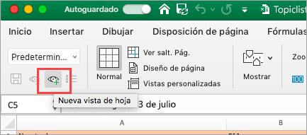 Muestra la hoja de cálculo de Excel