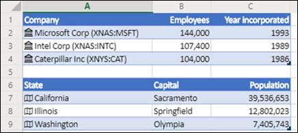 Imagen de los tipos de datos de las existencias y geografía en Excel para la web