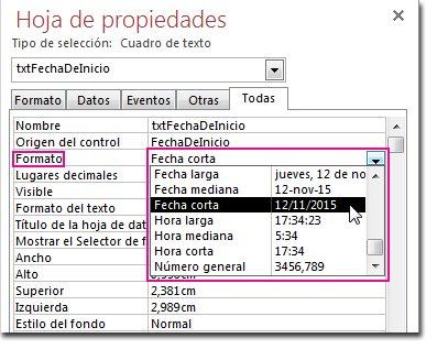 Imagen de la hoja de propiedad con la lista desplegable Formato visualizada.