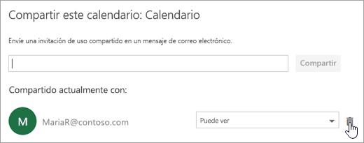 Captura de pantalla del cuadro de diálogo Compartir este calendario.