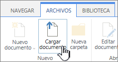 Botón Cargar documento en la cinta de opciones