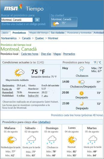 Página de MSN que muestra la previsión meteorológica para Montreal