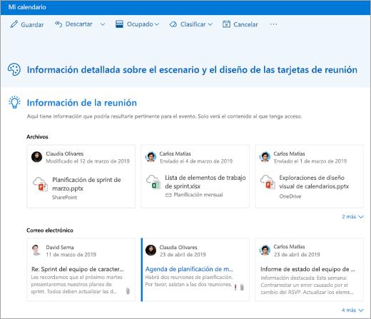 Captura de pantalla de información de la reunión