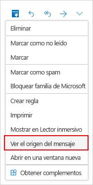 Selección de ventana de código fuente de mensaje