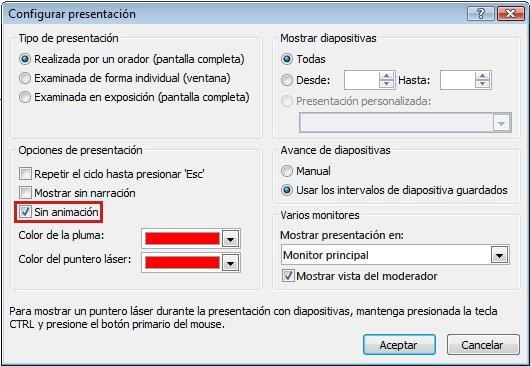 Cuadro de diálogo Configurar presentación