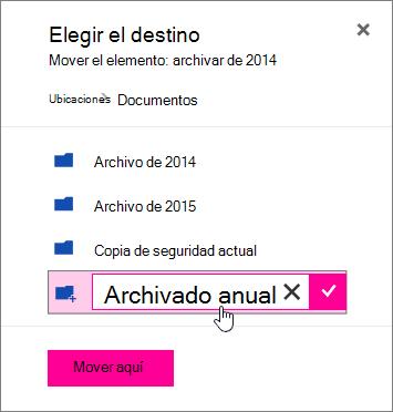 Mover el archivo al cuadro de diálogo con un nuevo nombre de carpeta especificado