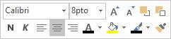 Elemento flotante de edición de texto o minibarra de herramientas
