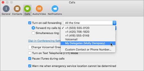 Establecer llamadas en Mis delegados